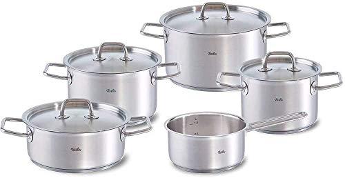 Fissler berlin / Edelstahl-Topfset, 5-teilig, Kochtopf-Set, Töpfe mit Deckel, stapelbar, Abgießhilfe, Induktion, alle Herdarten (3 Kochtöpfe, 1 Bratentopf, 1 Stielkasserolle)