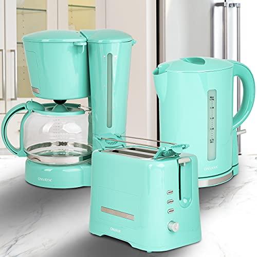ONVAYA® Frühstücksset 3-teilig | Kaffeemaschine Toaster Wasserkocher Set | Frühstücksserie 3 in 1 | Mint | Filterkaffeemaschine für 12 Tassen | Toaster für 2 Scheiben | Wasserkocher 1,7 Liter