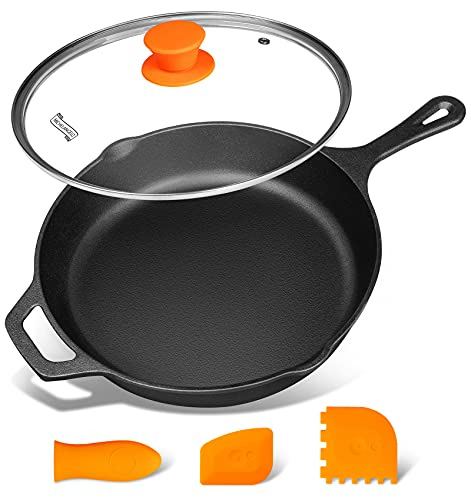 Cast Iron Skillet, 10 Inch Cast Iron Skillet With Lid, Preseasoned Oven Safe Skillet, Iron Skillets for Cooking with Silicone Handle & Scrapers - 10 Inch