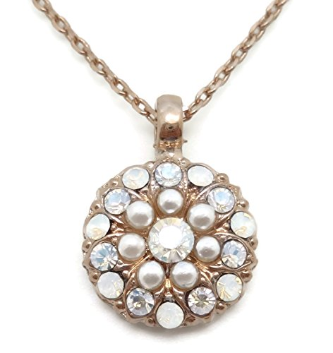 Mariana Bermuda Swarovski Rose Goldtone Guardian Angel Necklace White Simulated Pearl Mix 2340