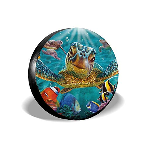 Dujiea Marine Funny Sea Turtle Fish Spare Tire Cover, Universal Wheel Tire Cover Waterproof Dust-Proof Tire Protectors for Jeep Trailer Rv Van SUV Truck Camper and Many Vehicle 14 15 16 17 Inch