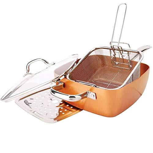 Incroyable poêle carrée avec accessoires et couvercle revêtement en cuivre et céramique ultra résistant anti-rayures anti-adhérent et poignées ergonomiques sans PFOA pour plaque à induction et gaz.