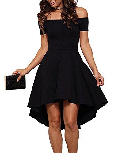 ZJCTUO Damen Kleid Abendkleid Schulterfreies Cocktailkleid Jerseykleid Skaterkleid Knielang Elegant Festlich Asymmetrisches Partykleid, A -Schwarz-v2, 40(L)-Bust:90cm