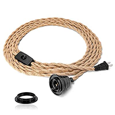 Industrial 15ft Pendant Light Cord - Hanging Light Kit with Switch Plug in Vintage Fabric Lamp Cord with Twisted Hemp Rope Pendant Lights Socket Set E26 E27 for Pendant Lamp Farmhouse Lamp Cable DIY