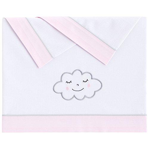 Pekebaby NUVOLA ROSA - Tríptico sábanas algodón minicuna (50 x 80 cm)