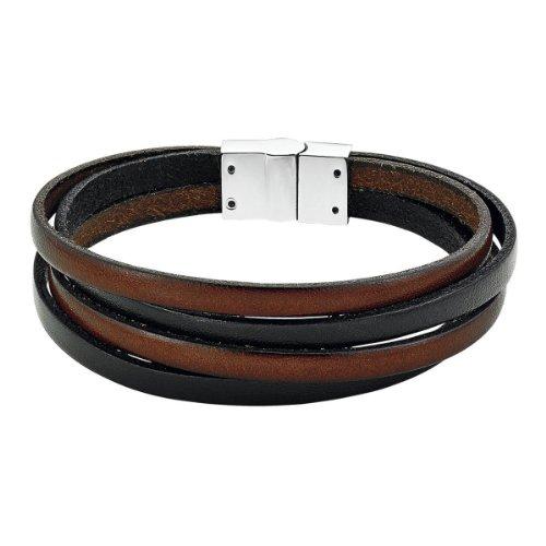 s.Oliver Herren-Armband Edelstahl Leder 21 cm