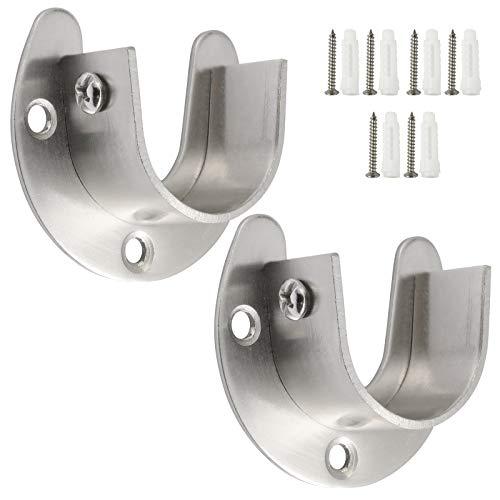 Creatyi Heavy Duty Stainless Steel Closet Rod Brackets Closet Shower Rod Bracket Closet Rod Holders Closet Pole Sockets Closet Rod Supports for 1 Inch Rod (2 PCS, Silver)