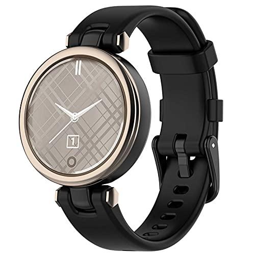 TopPerfekt Movimiento Mujer Bandas compatibles con Garmin Lily Watch Bands, silicona suave, correa de repuesto impermeable (negro)