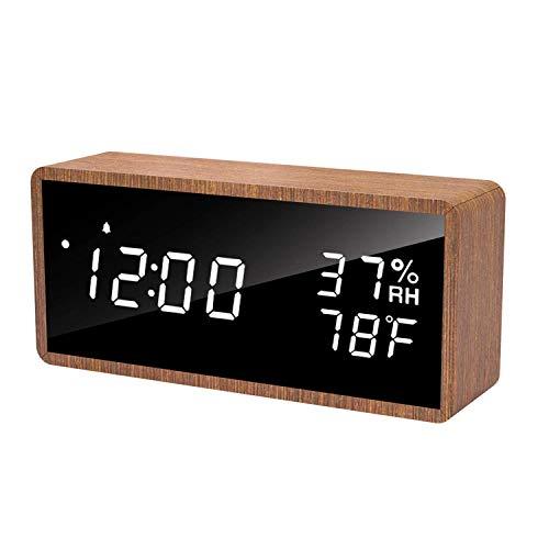 meross LED Digital Alarma Despertador, 3 Alarmas, 3 Niveles de Brillo. Muestra Tiempo, Temperatura y Humedad, Incluye Cable USB. Adecuado para Familias, Dormitorios, Guarderías y Oficinas MC10