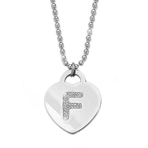 Collana con ciondolo da donna in acciaio con cristalli con lettera iniziale - pendente a forma di cuore con lettera dell'alfabeto - collana con catenina lunga 90 cm - argento e cristalli (F)