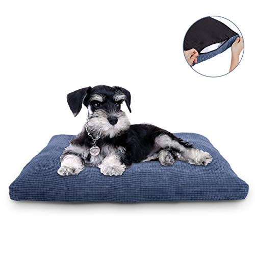 JOEJOY Dog Bed Crate Pad,Bed Mats 24/30/36 Inch Corduroy Anti Anxiety Dog Mats for Sleeping Removable Machine Washable Cover Soft Durable Non-Slip Kennel Pad Dog Pillow Cat Bed (L(35'' x 23'')) Beds