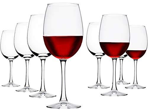 UMIZILI Set di 8 bicchieri da vino a stelo lungo, 490 ml, bicchieri da vino rosso e bianco, set di bicchieri da vino per matrimoni o feste