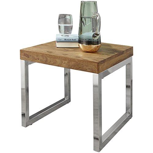 WOHNLING Bijzettafel massief hout Sheesham woonkamertafel metalen frame salontafel landhuisstijl donkerbruin 45 cm natuurproduct woonkamermeubels unicaat modern massief houten meubelen aanzettafel van echt hout