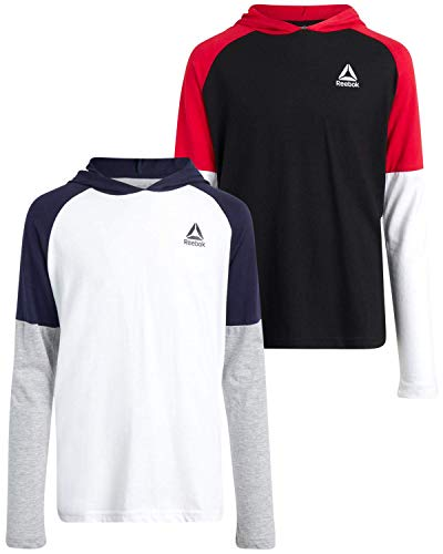 Reebok Boys Performance T-Shirt and Long Sleeve Pullover Hoodie 2-Piece Set, Size Large, Black/Red/White/Navy