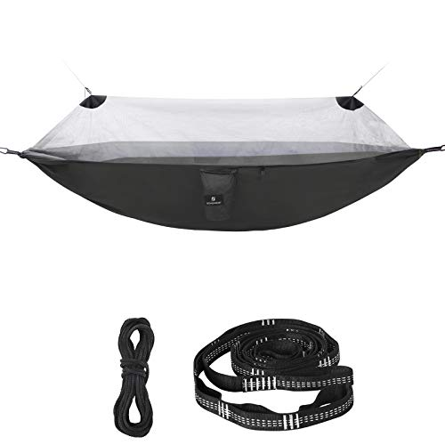 SONGMICS Ultra-Light Hammock with Mosquito Net, Portable Double Hammock, Ripstop Nylon, Quick Dry, Multi-Loop Straps, Max. Load 300 kg, 275 x 140 cm, for Camping, Garden, Army Black and Grey GDC16BG