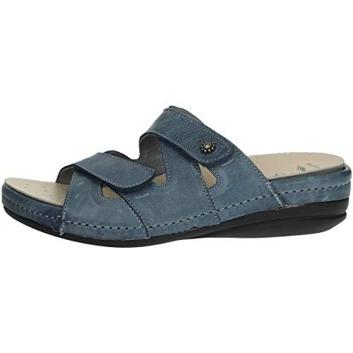 RIPOSELLA - Zapatos Sandalias para mujer 9501 piel azul original PE 2020