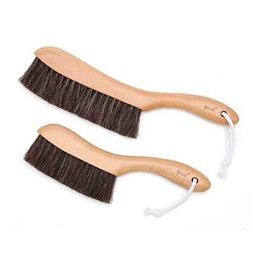 SHT. Bettbürste, Pferdehaar-Staubbürste, Kehrbürste, Desktop-Besen for weiches Haar, Wäschereinigungsbürste (Size : Small+Large)