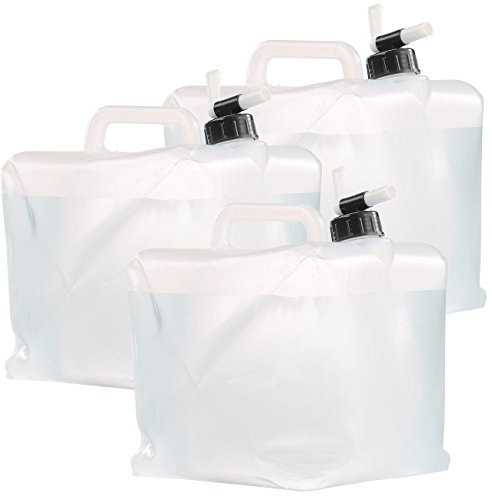 Semptec Urban Survival Technology Trinkwasserkanister: Faltbare Wasserkanister mit Zapfhahn, 10 Liter, 3er-Set (Wasserbeutel mit Hahn)