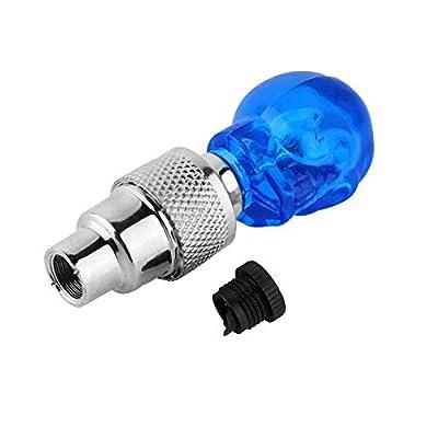 NTJ (1 Pair) Skull Head Face Led Motion Activated Bike Bicycle Wheel Valve Stem Cap Tire Light