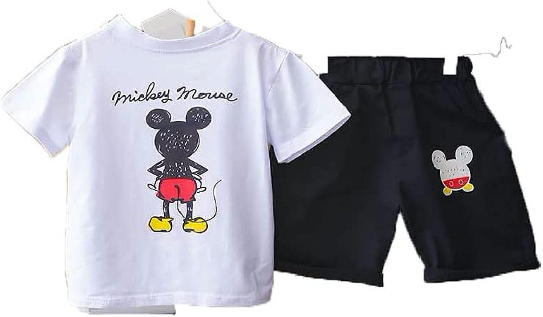 Summer Kid Boy Short Sleeve Shorts 2 Pieces(Cartoon Printed)