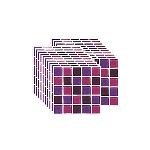 FBBULES 20 Piezas Pegatinas de Pared PVC, Azulejos Adhesivos Resistente Calor Impermeable Protector contra Salpicaduras para Sala Cocina Mosaico Morado (10 x 10 cm / 4 x 4 Pulgadas)
