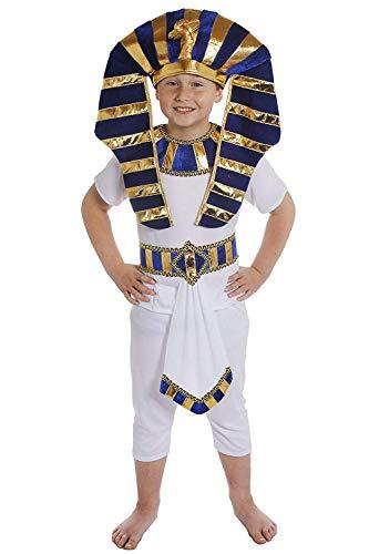 Déguisement de pharaon le roi d'Egypte avec Le haut blanc + Le pantalon blanc + une magnifique ceinture + une collerette + une coiffe impréssionante pour enfant. Ideal pour les fêtes de fin d'école. ( Xlarge )
