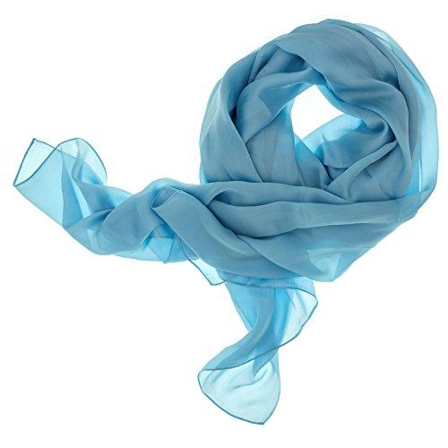 DOLCE ABBRACCIO by RiemTEX ® Schal Damen LADY SUNSHINE Seidentuch Tücher mit hohem Seidenanteil Pashmina Stola Tuch Halstuch in hellem Blau Kopftuch Damen Seidenschal Elegante Schals (Hellblau)