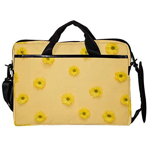 TIZORAX Laptop Messenger Shoulder Bags Yellow Daisy Floral Computer Sleeve Notebook Carrying Case 15-15.4 inch Handbag