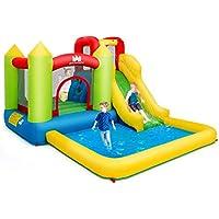 COSTWAY Castillo Hinchable con Piscina de Juego y Tobogán para Infantil Centro de Juego de 350x280x190cm Sin Soplador