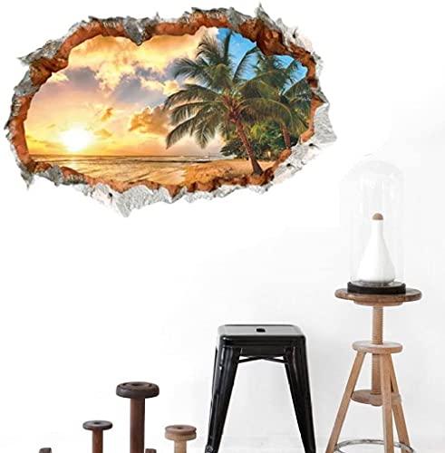 KBIASD Pegatinas de pared de playa 3D de océano Tropical, Mural artístico de pared de sol, calcomanías de decoración de vinilo de árbol de coco para dormitorio, sala de estar
