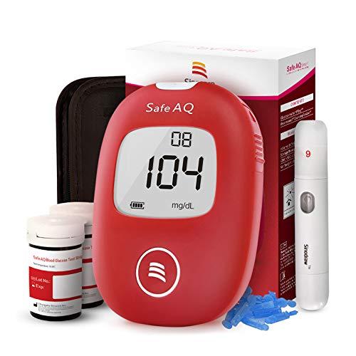 Blutzuckermessgerät, mit Blutzuckerteststreifen x 50 & Blutzuckertest Lanzetten x 50, Schmerzfrei, Wenig Probenvolumen (0.6μl), schnell Messerung, Einfach und Sauber für Diabetes Diabetiker - mg/dL