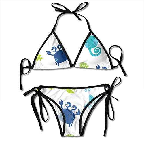 Bikini Cute Sea Animals Underwater Cartoon Pattern On A Color Background It C Bikini Set Two Piece,Triangle Padded Cut Out Swimsuit for Ladies Swimming Costume