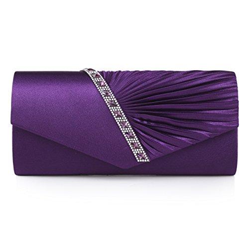 Bolso de noche estilo clutch Damara, diseño con adorno de satén drapeado y decoración de cristales, color Morado, talla Large