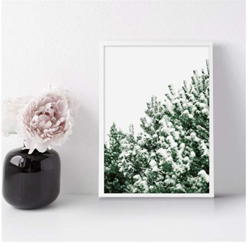XIANGPEIFBH Canvas Painting Winter Nature Photography Canvas Print Wall Art Picture Snow Pine Tree Poster Home Decoration 40x60 cm/15.7' x 23.6' No Frame