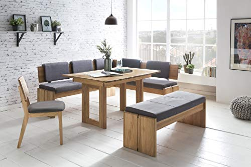 European Solid Wood Dining Furniture Set, Breakfast Nook Bench Made from Oak, 4 Piece Corner Dining Set, Enjoy The Best Breakfast Nook Table Set, Luxury Breakfast Nook Cushions. Sweden Breakfast Nook