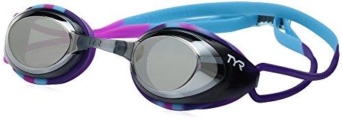 TYR Junior Blackhawk Racing Mirrored Googles, Silver/Blue/Purple, One Siz