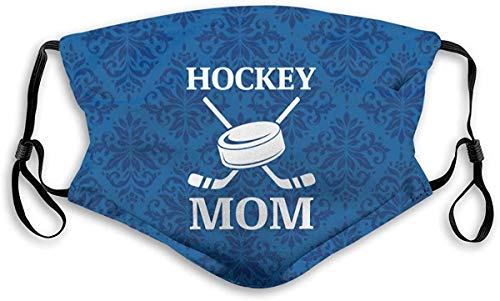 Bandanas Hockey Mom Adjustable Earloop Face Anti Dust Face Mouth with Filter and Nose Clip for Men & Women Black-Medium