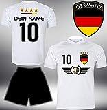 Deutschland Trikot Set 2018 mit Hose GRATIS Wunschname + Nummer im EM WM Weiss Typ #DE5th - Geschenke für Kinder Erw. Jungen Baby Fußball T-Shirt Bedrucken