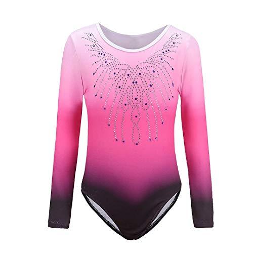 Sinoem Gymnastikanzug für Mädchen von 5 bis 12 Jahren, langärmelig, mit Farbverlauf und Glitzer. Für Tanz, Ballet, Turnen. 8 Jahre Rosa - Langarm
