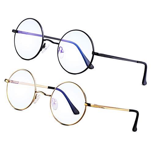 Brigtlaiff Round Blue Light Blocking Glasses for Men Women John Lennon Style Computer Gaming TV Glasses Anti Eyestrain (Gold+Black)
