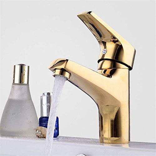LXGANG grifo monomando cocina grifo fregadero grifo de la cocina oro cobre caliente y frío lavabo lavabo lavabo grifo sola manija solo agujero baño