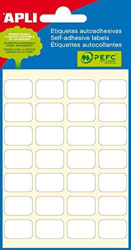 APLI 2670 - Etiquetas blancas adhesivo fuerte (12 x 18) 6 hojas