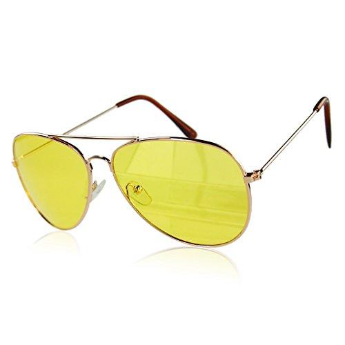 QHGstore UV400 de los hombres de la Mujer de las gafas de sol amarillo reflectante