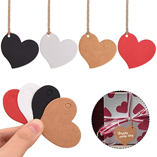 Udefineit 400PCS Heart Shape Kraft Gift Tags, 4 Colors Craft Paper Tags Pricemarker Hanging Labels with Twine for Gift Packing Party Favors Name Message Thanks Cards Page Marker Sales Retail Tags
