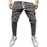 Pantalones de Jogging para Hombre Pantalones Deportivos Casuales Delgados Impresos a Cuadros Personalizados de Moda Pantalones Casuales de Moda callejera M