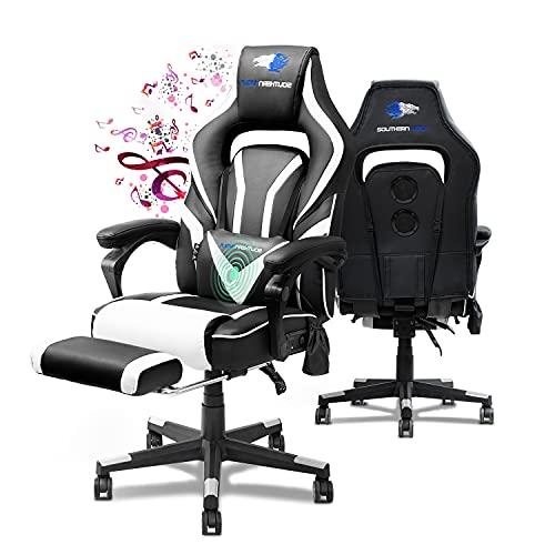 SOUTHERN WOLF Gaming Stuhl, Ergonomisch Videospielstuhl mit Bluetooth Lautsprecher, PU-Leder Einstellbar Armlehne PC Computer Stuhl mit Massage, Rennstil Schreibtischstuhl mit Versenkbarer Fußstütze