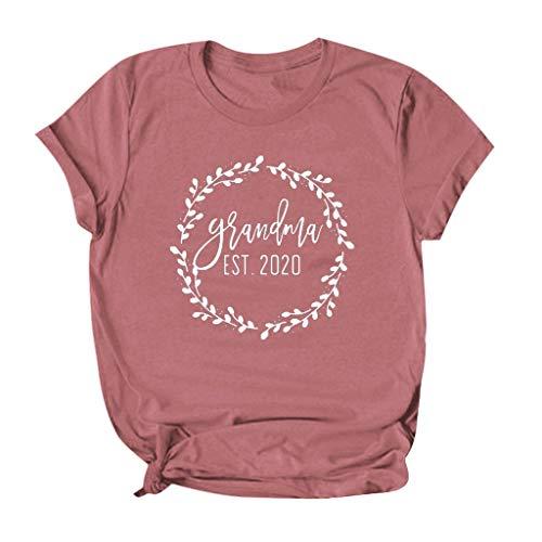 Dainzusyful T Shirt for Women Mother's Day Grandma Est 2020. Letter Print Short Sleeve Shirts Top Blouse Tee Pink