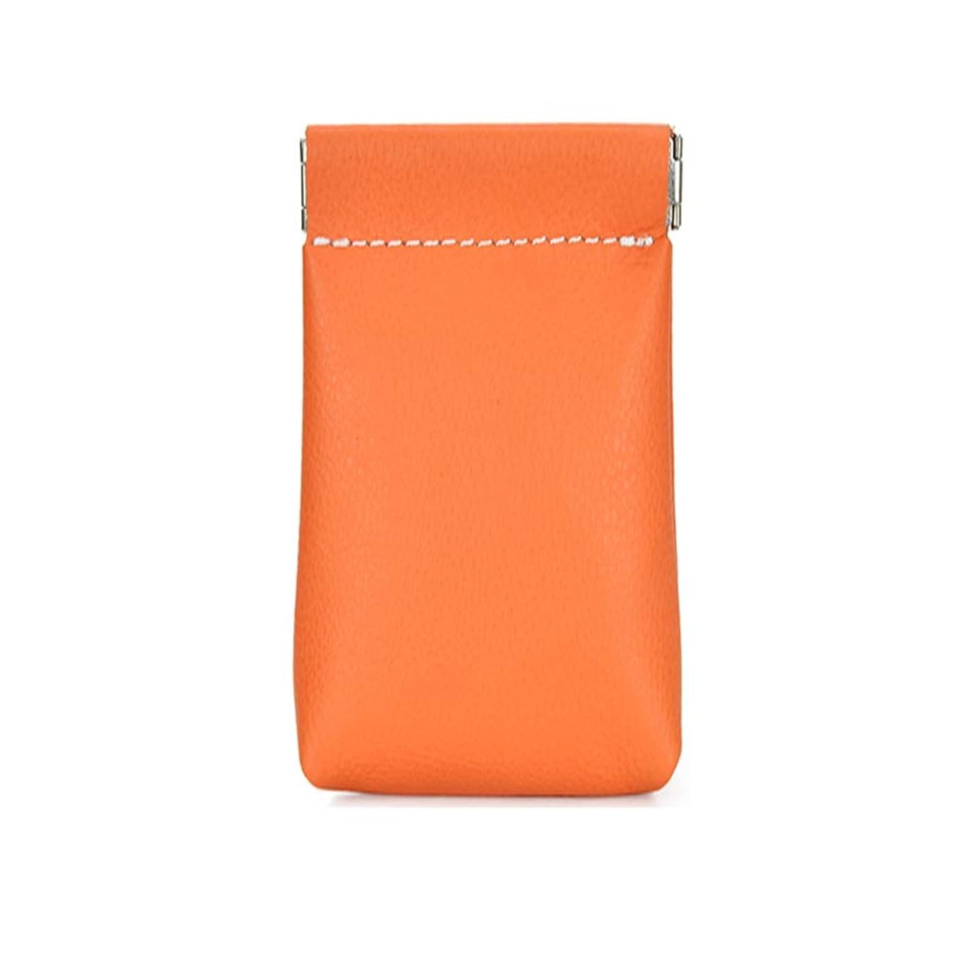 ダイヤル反動あたたかいコインケース、本革製スクイズコインケースコインウォレットアメリカ製メンズ/レディースコインケース11 * 10 * 3cm / 4.3 * 3.9 * 1.2in、カラー:オレンジ