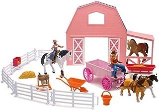 New-Ray Valley Ranch Pink Barn Horse Set
