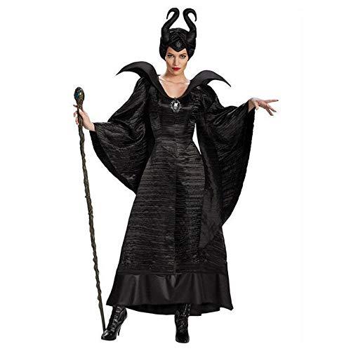YYT123 Disfraz de Bruja de Halloween para Mujer Adulta, Disfraz de Bruja Malvada para Mujer Adulta, Disfraz de Sombrero de Cuerno-XXXL